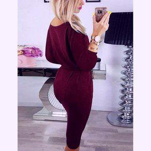 Long Sleeve Knee Length Business Casual dressnk